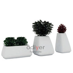 Creative personality round glass steel flowerpot m white 50 * 100 * 40