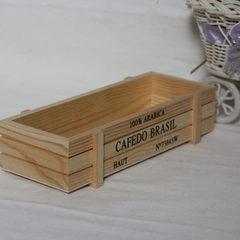 简约多肉木头花盆 台阶式多肉木盒托盘定做方形复古木质多肉花盆 可定 22.5*8*5