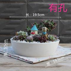 厂家直销德化白瓷盆多肉组合花盆白色多肉植物花盆组合多肉花盆 如图 19.5*19.5*5.5