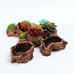 Creative retro tree stump root carving succulent p Style A is dark brown