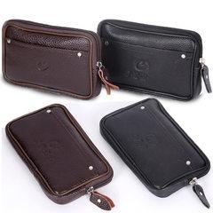 Mobile phone Fanny pack men wear leather belt mobi Black 5