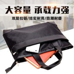 创易事务包公文包防水加厚超大容量双层涤纶携带方便轻巧坚固舒适 黑色