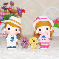 Creative fashion couples lead dog children resin w 7.5 * 6.5 * 6.5 cm
