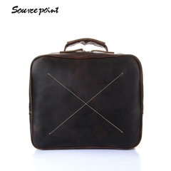 Source point new leather men retro shoulder bag cr Dark brown