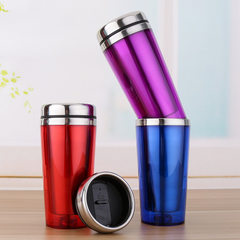 Wholesale stainless steel car cup outside plastic  red 450 ml