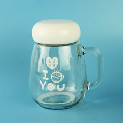 Penguin cup handle water glass customized LOGO pri white 300 ml
