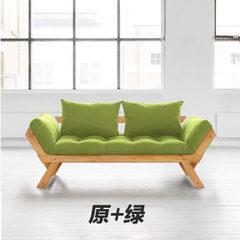 小户型可拆洗布艺沙发 简约客厅实木沙发 折叠懒人沙发厂家直销 绿色 黑色榉木架