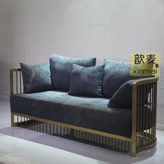 歆麦创意美式现代沙发 酒店不锈钢家具沙发 客厅布艺三人沙发 麻绒布 三位