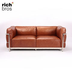 盈进北欧创意LC3两人位真皮沙发组合小户型欧式沙发客厅办公商务 浅棕色