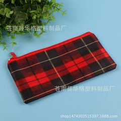 Custom PVC zippered pen bag with checkered cloth p red