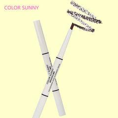 color sunny 双头眉笔带眉刷一字眉自动旋转眉笔 1#黑色