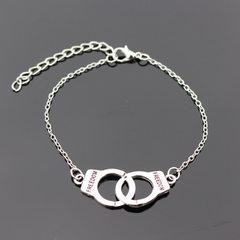 新款欧美简约流行手饰bracelet asos创意小手铐手链韩版女生手环 银色