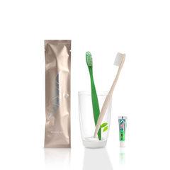 酒店景区民宿客栈一次性牙刷牙膏套装待客家居牙刷5000套起定制 香槟金+绿色牙刷+6克黑妹牙膏