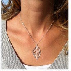 Z0023欧美热卖饰品 森系简约自然金属树叶短款项链颈链 女式 银色