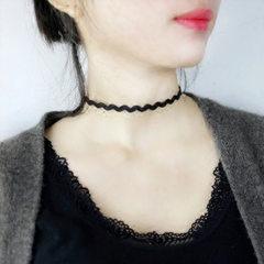 蕾丝颈链颈带原宿脖链脖子项圈锁骨链女饰品韩国日韩短款朋克项链 黑色