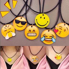 ulzzang韩国软萌童趣原宿卡通黄色笑脸EMOJI表情锁骨颈链项链 笑脸——项链