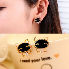 Korea fashionable lovely black smiling cat water d golden