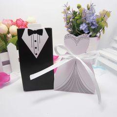 欧式西服喜糖盒婚庆婚礼用品欧式礼服喜糖盒新郎新娘糖盒 双排扣礼服 新郎
