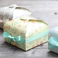 Korean color printing white card paper gift foldin 7.5x7.5x3.5cm fresh small yellow flowers