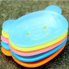 1049小熊香皂盒 韩版创意可爱卡通肥皂盒 家居卫浴日用香皂盒 17g 透明蓝色