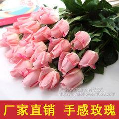 仿真花 厂家批发玫瑰花 手感保湿玫瑰 婚庆装饰花 仿真花套装 玫红(期货,600支起订)