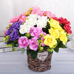 Manufacturer`s direct selling simulation bunches h Single bouquet of hibiscus rose yellow