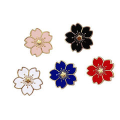 日系甜美少女风格唯美樱花滴油胸针合金徽章小花领针衣饰胸花饰品 白色