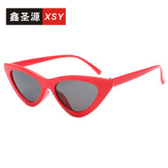 2018 new style cat eye sunglasses cat ear triangle The red box gray piece