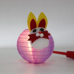 兔子灯笼 中秋节灯笼 创意DIY手提绸布灯笼 diy卡通灯笼儿童手工 直径12cm