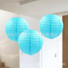 厂家直销20cm钢丝灯笼 圆形天蓝浅紫DIY纸灯笼