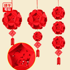 Custom festival decoration craft felt ball wholesa red Can be customized