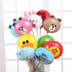 18寸大号卡通铝箔气球批发 布朗熊可妮兔系列圆球带拖杆铝膜气球 标价为包含拖杆的价格