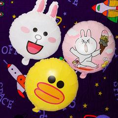 地推扫码小礼品 18寸卡通铝膜气球 兔子鸭子小熊生日装饰铝箔气球 小熊(50*41CM)