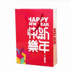 2018新年手提袋纸袋春节礼品袋狗年礼品盒红色包装袋过年送礼袋子 250克白卡纸