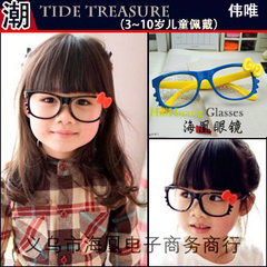 Colorful eyeglasses KT cat cat bowknot eyeglasses  Yellow framed red bow