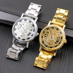 韩版合金钢带透视镂空仿机械手表 非机械表 微商礼品货源批发 金色