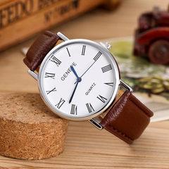 罗马刻度时尚潮流皮带手表正品牌女士商务防水石英表热销款时装表 银壳白带