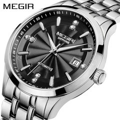 Manufacturer direct selling MEGIR men`s watch auto Black strip steel shell with black surface