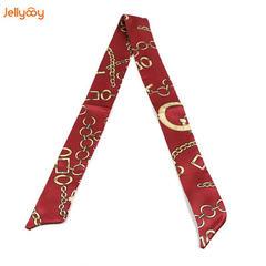 多功能经典款绑包丝巾涤纶丝印花绑包包手柄小丝带领巾Twilly包带 红色 80-100cm