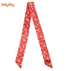 包包配饰 新款绑包配饰涤纶丝丝巾埃菲尔铁塔印花图案绑包包丝巾 红色 80-100cm