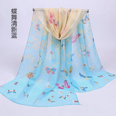 New yiwu seven color butterfly female print chiffo Butterfly fresh blue 135-175 cm