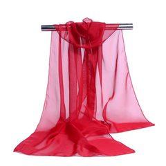 夏季新款雪纺丝巾长款防晒薄纱巾文艺围巾韩版时尚女士丝巾批发 红色 160*50