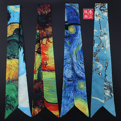 艺术梵高麦田杏花星空油画细长条窄小丝带绑包包手柄丝巾发带领巾 C75-1