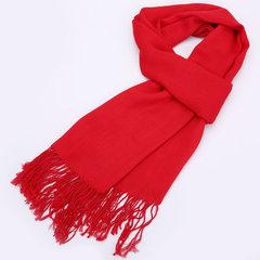 新款 高档丝光棉流苏单色围巾年会大祭祖黄色围印字LOGO 红色 175cm以上