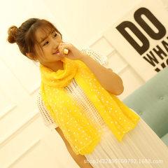 厂家直销时尚新款印花丝巾双层棉麻围巾 星星月亮亲子款围巾批发 黄色 135-175CM