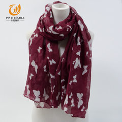 Bali yarn two-color butterfly scarf and print scar red 180 cm * 90 cm