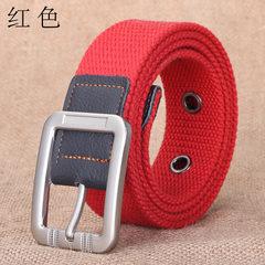 现货帆布皮带 针扣男士裤带布腰带针扣帆布腰带批发通用运动pidai 红色 100cm