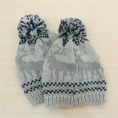 Children`s wool knitted hat autumn winter new Icel gray 2-5 years of age