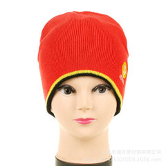 Can be custom - made knitted jacquard hat, striped red The adjustable