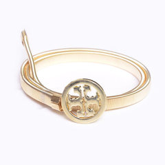 Fashionable new - style metal spring ladies waist  golden